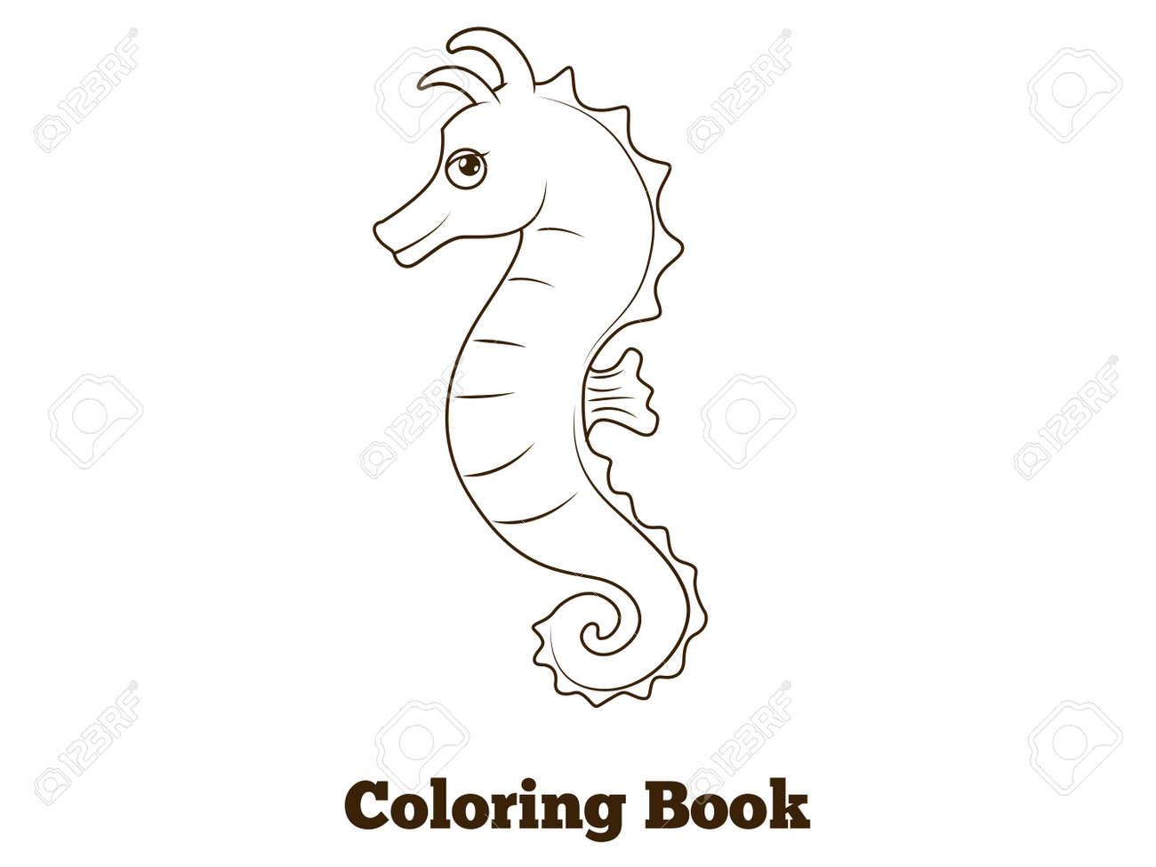 Libro Para Colorear Peces Caballito De Mar De Dibujos Animados Vector Ilustración Educativa