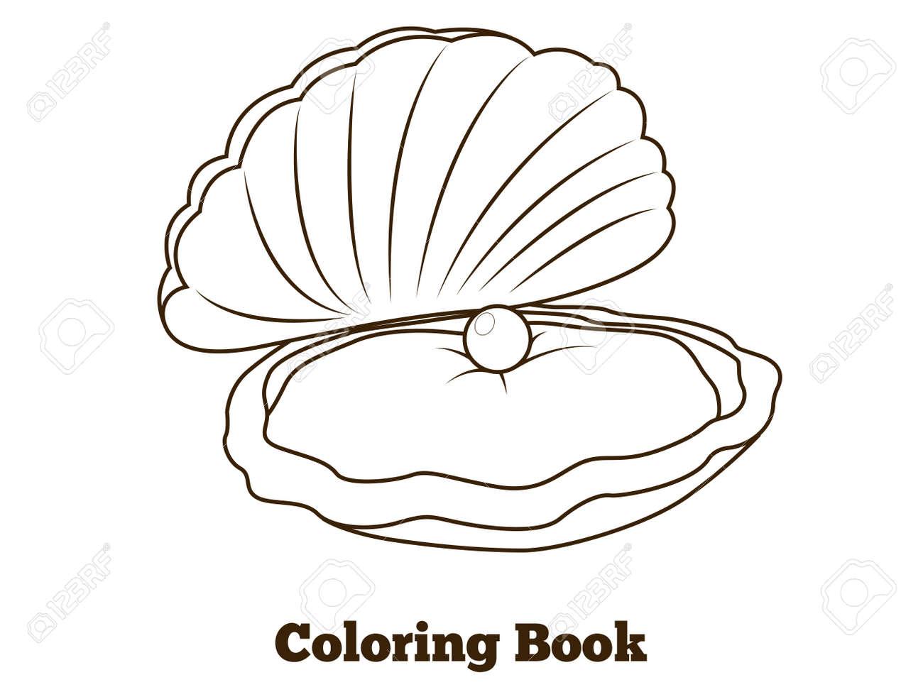 Libro De Pescado De Ostras Para Colorear De Dibujos Animados Vector Ilustración Educativa