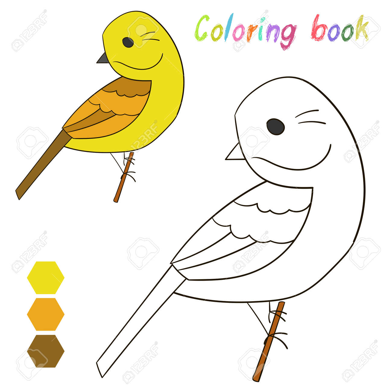 Coloring Book Bird Yellowhammer Kids Layout For Game Cartoon Royalty Free Cliparts Vectors And Stock Illustration Image 46552702