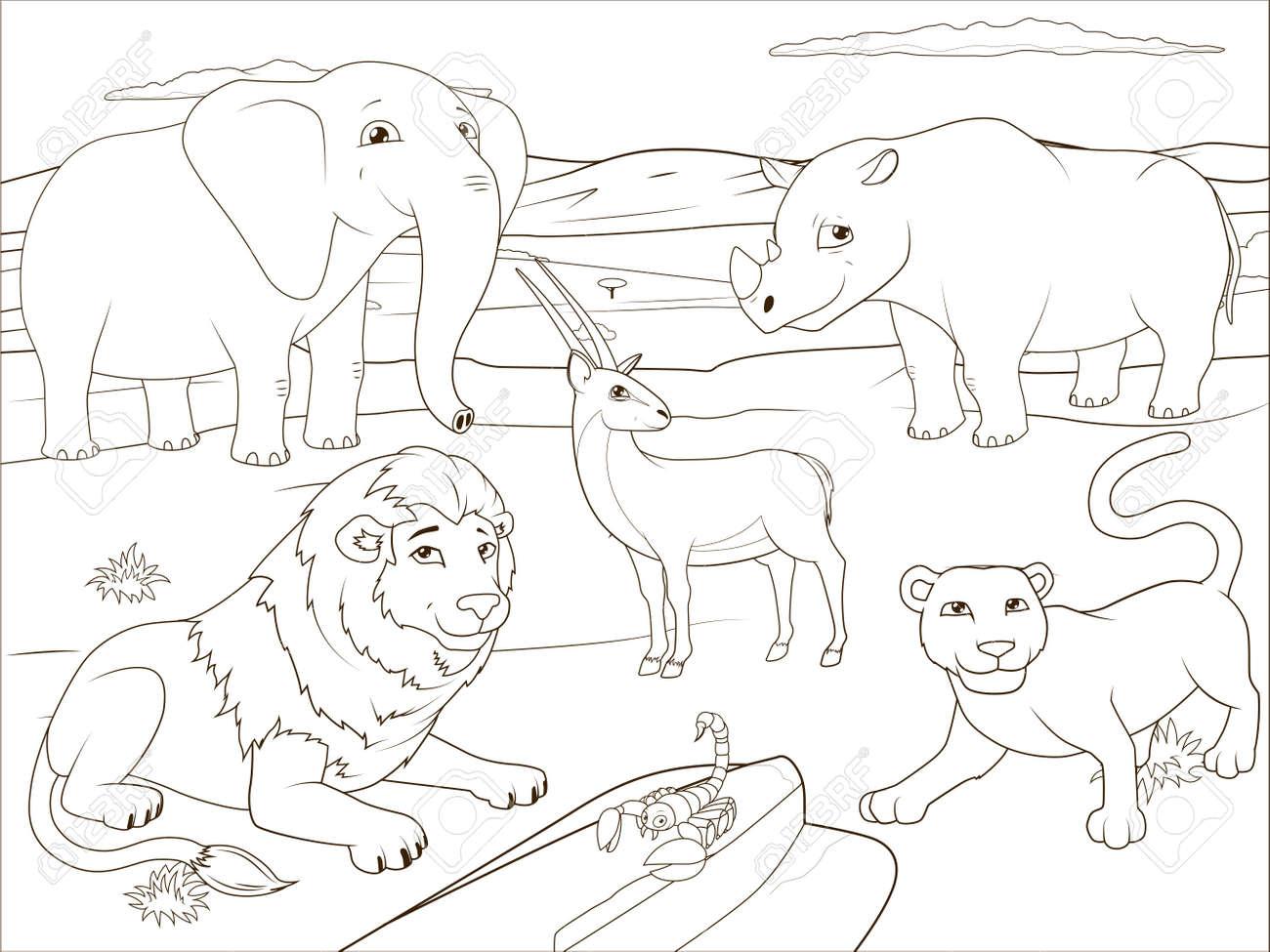 Juego Educativo Libro Para Colorear Para Los Niños Animales De La Sabana Africanos Dibujos Animados Ilustración Vectorial