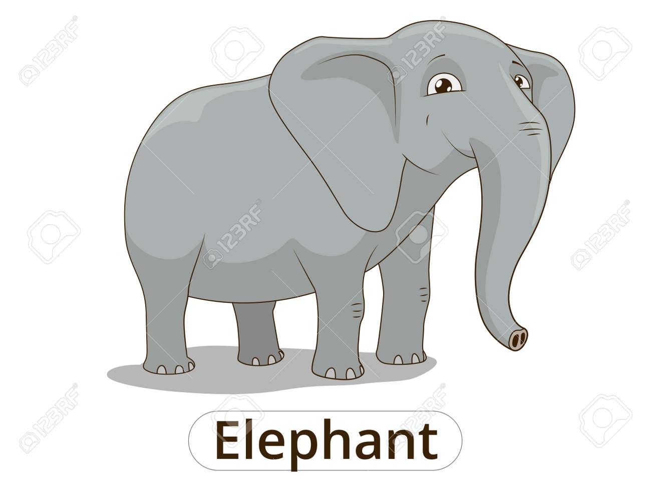 Ilustración De Dibujos Animados De Colores Vector De Elefante Africano De Sabana Para Los Niños