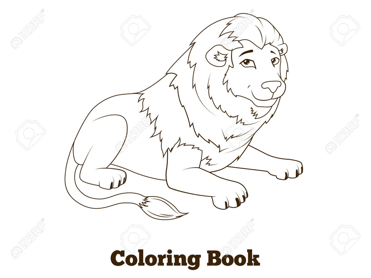 Coloring Book Lion African Animal Cartoon Educational Vector ...