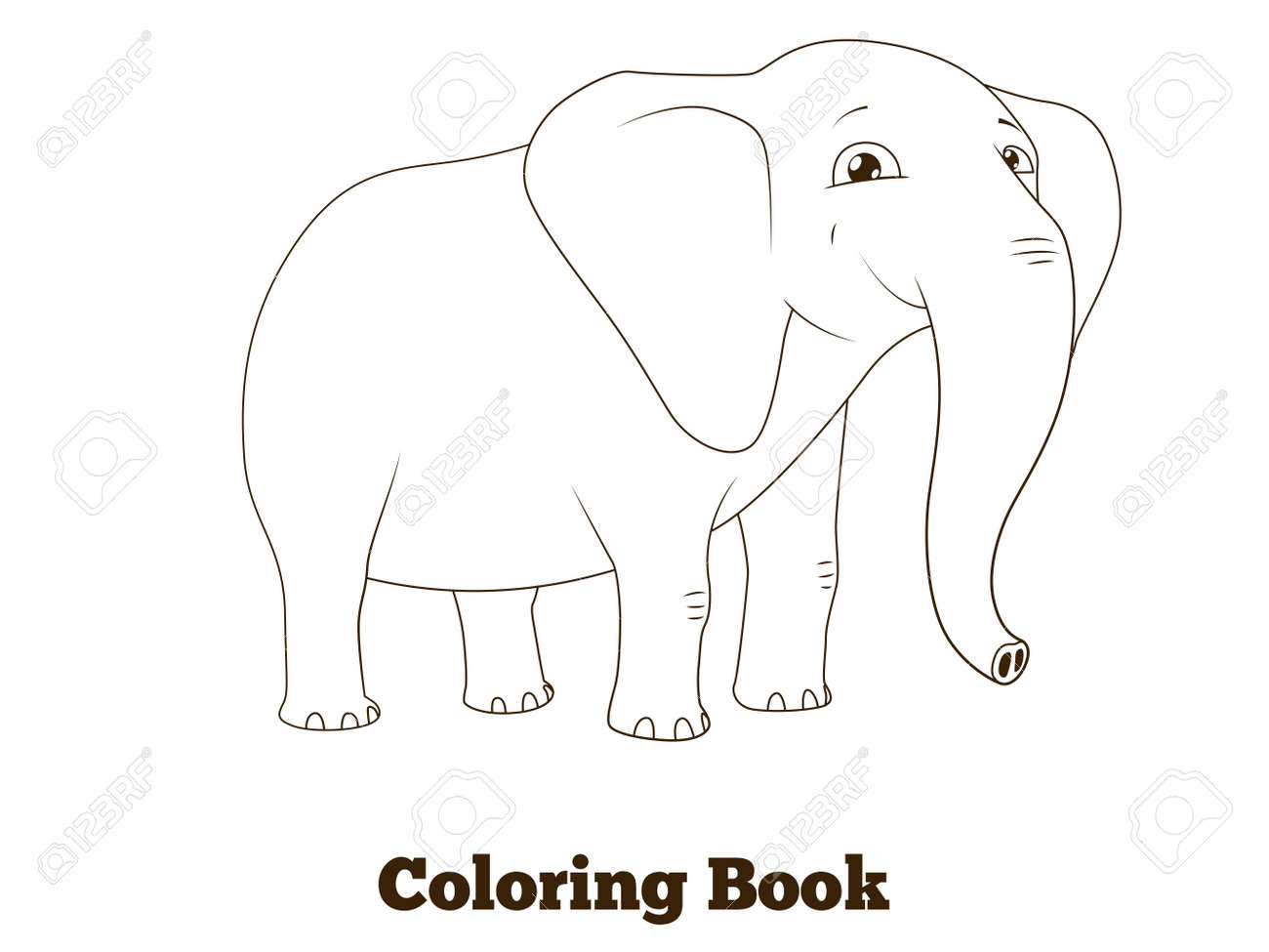 Coloring Book Elephant African Animal Cartoon Educational Vector Illustration Stock