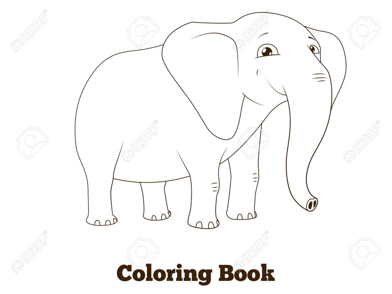 Libro Para Colorear Elefante Africano Ilustración Vectorial Educativo Animal De La Historieta