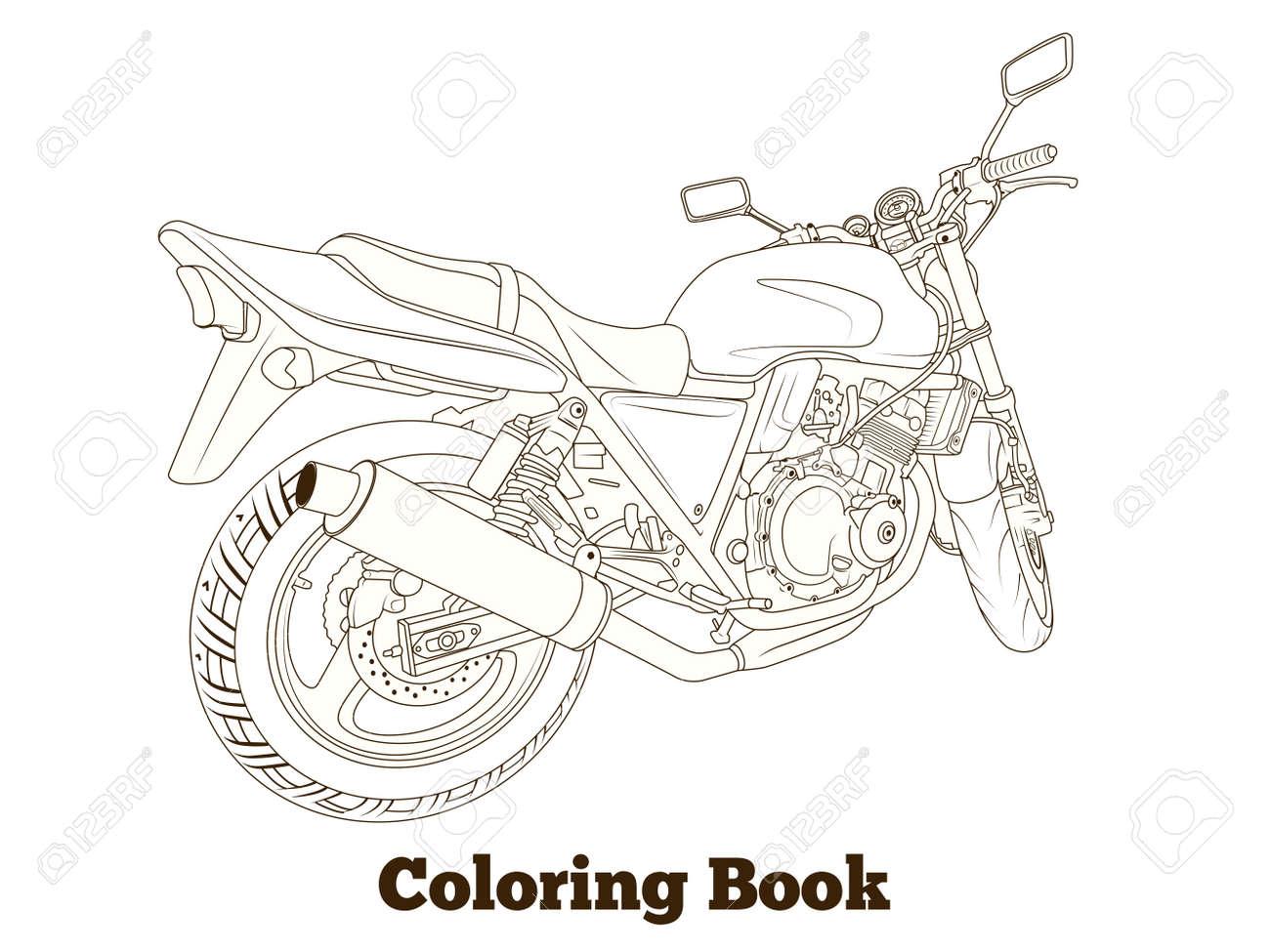 Libro Para Colorear Moto Líneas Finas Ilustración Vectorial ...