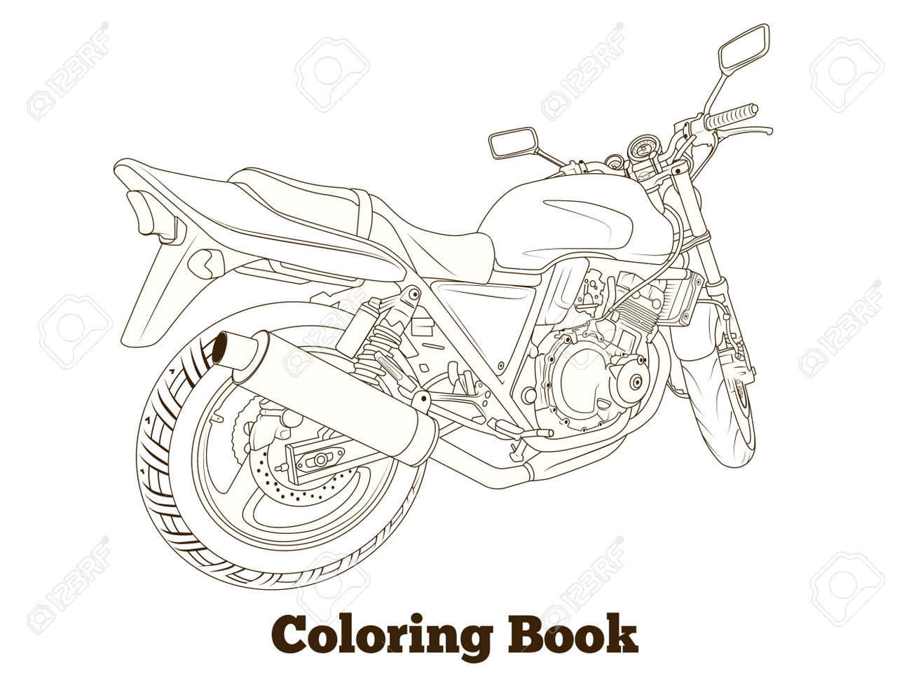 Malbuch Motorrad Dünne Linien Vektor-Illustration Lizenzfrei ...