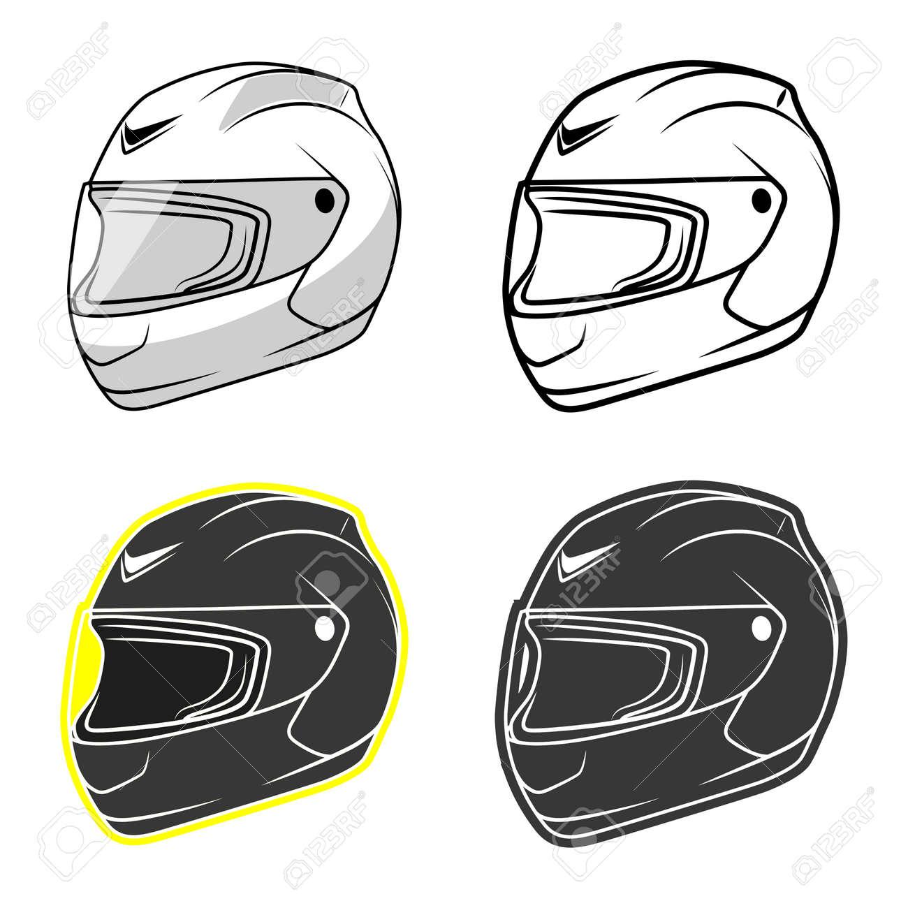 バイク ヘルメット グレーの黒と白の色ベクトル イラストのイラスト素材