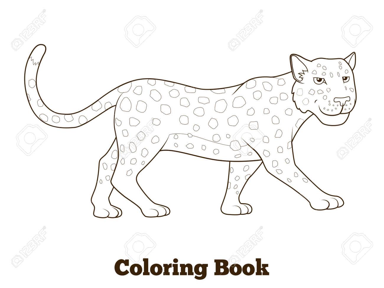 Libro Para Colorear Leopardo Sabana Africana Ilustración Vectorial De Dibujos Animados De Animales Para Niños