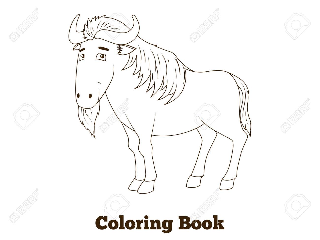 Libro Para Colorear Ilustración Vectorial ñus Sabana Africana Animal De La Historieta Para Los Niños