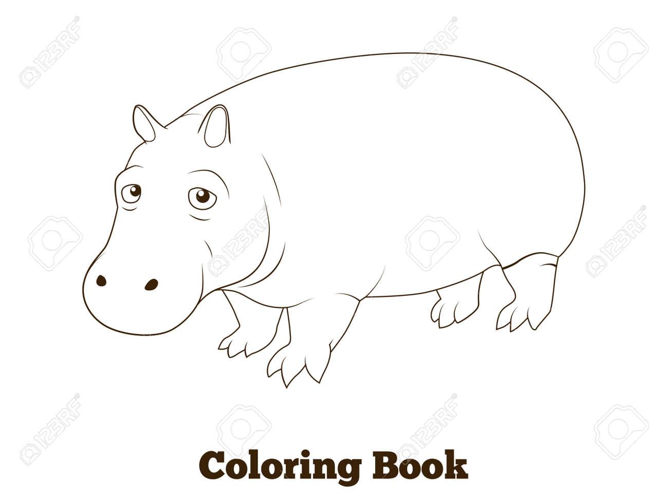 Libro Para Colorear Hipopotamo Sabana Africana Ilustracion