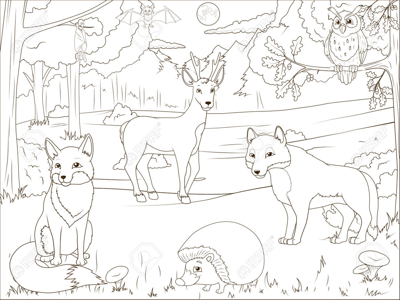 Coloring Book Forest With Cartoon Animals Educational Game Vector Llustration Stock