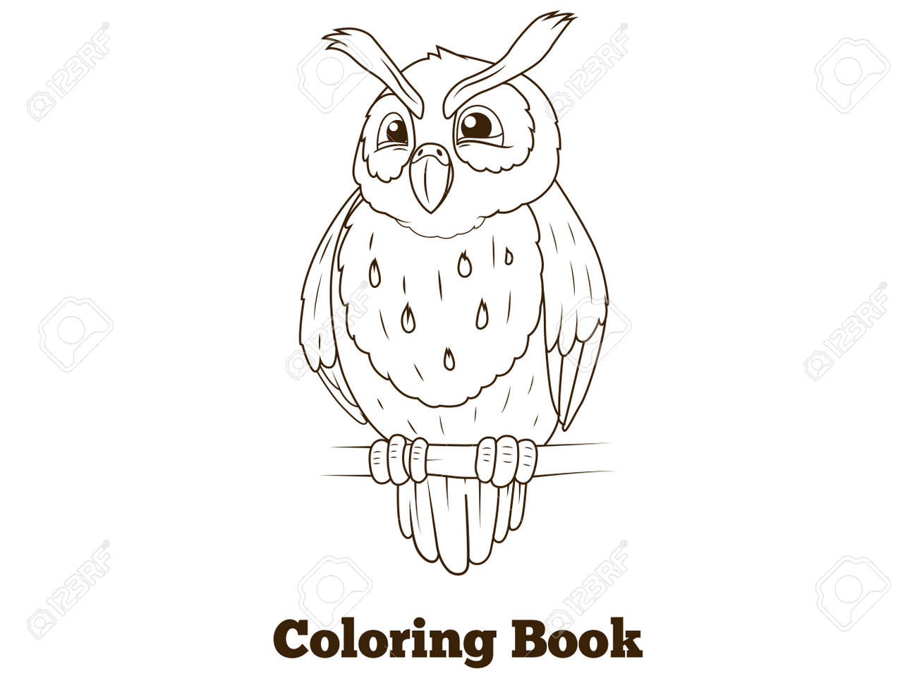 Coloring Book Forest Owl Bird Cartoon For Children Vector Illustration Stock