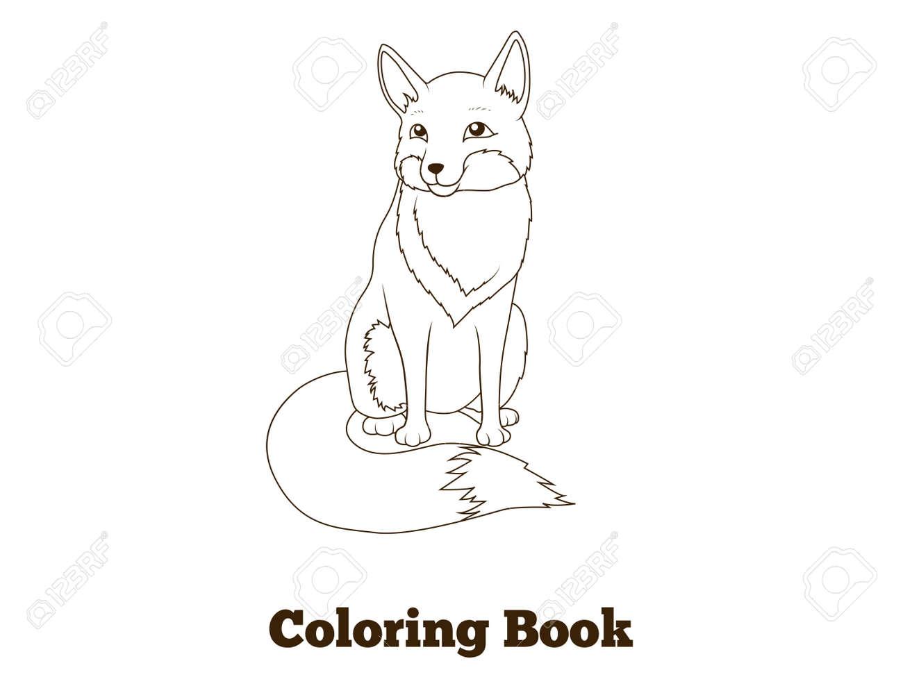 子供のベクトル イラスト本森林動物キツネ漫画を着色 ロイヤリティ
