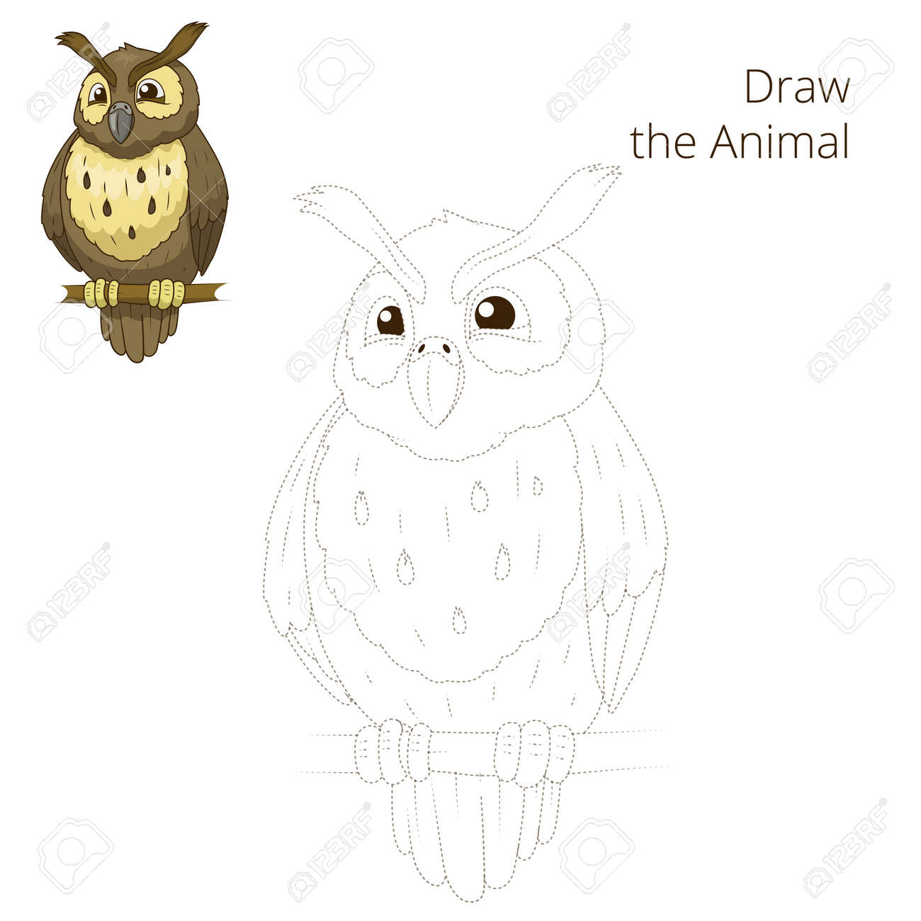 draw the forest animal bird owl cartoon for children vector