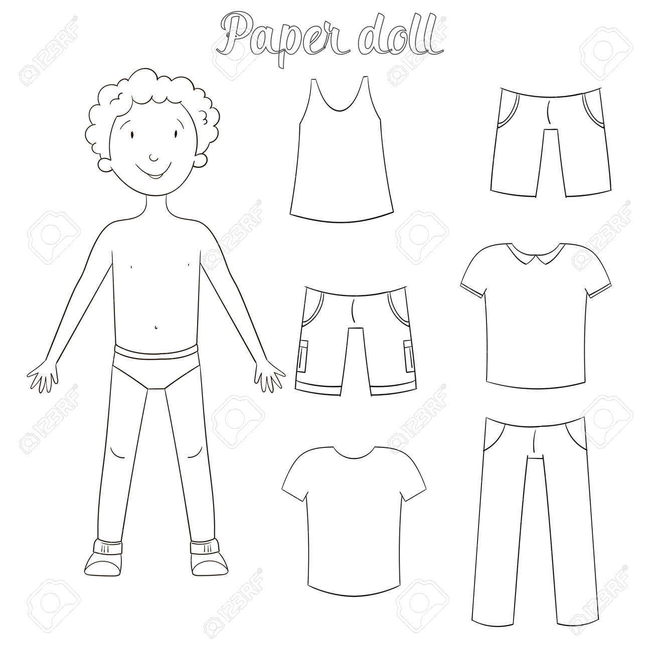 paper doll boy and clothes coloring book cartoon doodle hand drawn vector illustration stock vector - Coloring Book Paper Stock
