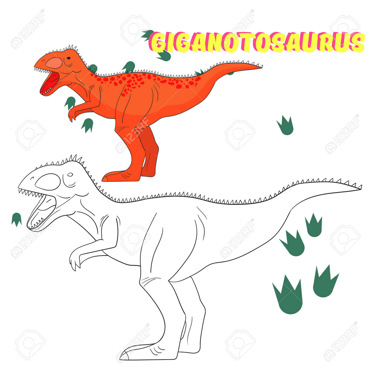 Educational Game For Children Coloring Book Dinosaur Cartoon Doodle Hand Drawn Vector Illustration Stock
