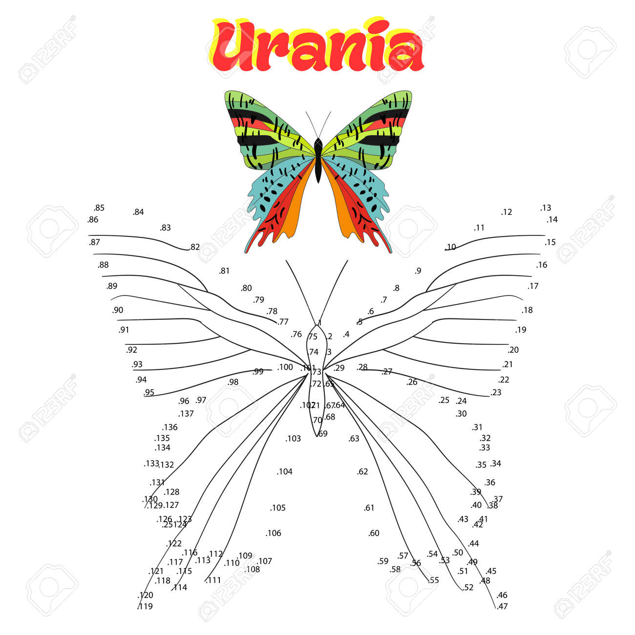 educational game for children connect the dots to draw butterfly