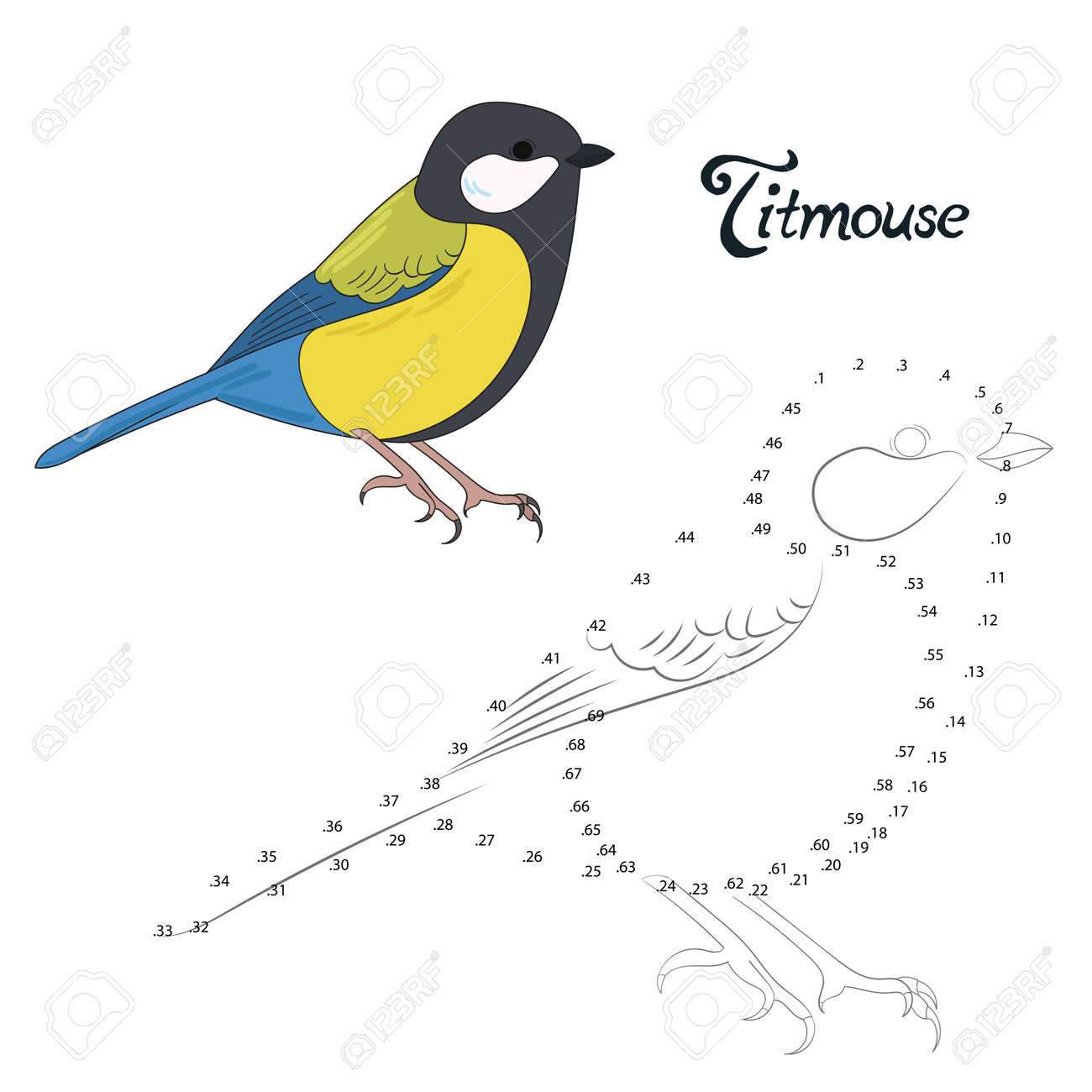 educational game connect the dots to draw titmouse bird cartoon