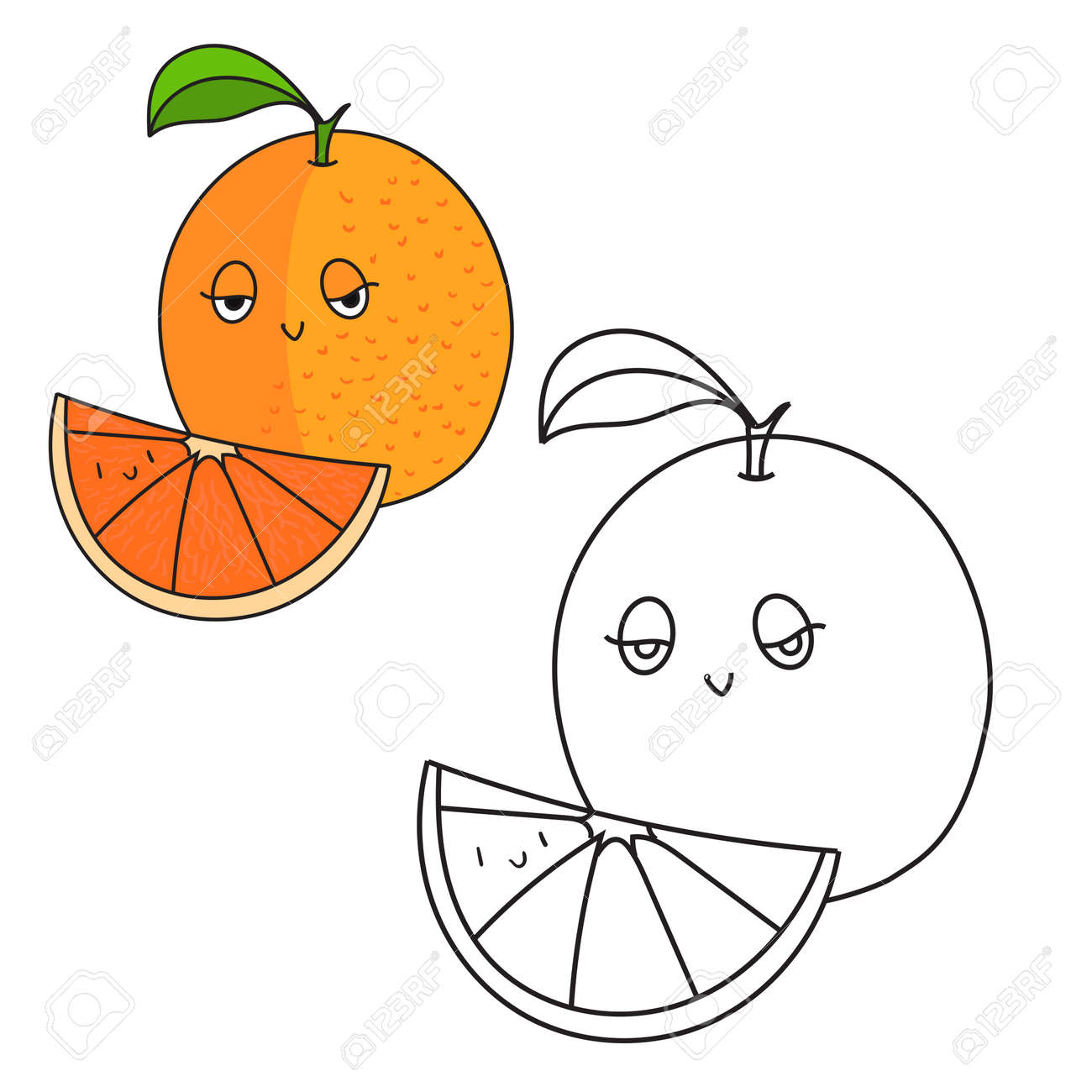 Educational Game Coloring Book Orange Fruit Cartoon Doodle Hand Drawn Vector Illustration Stock