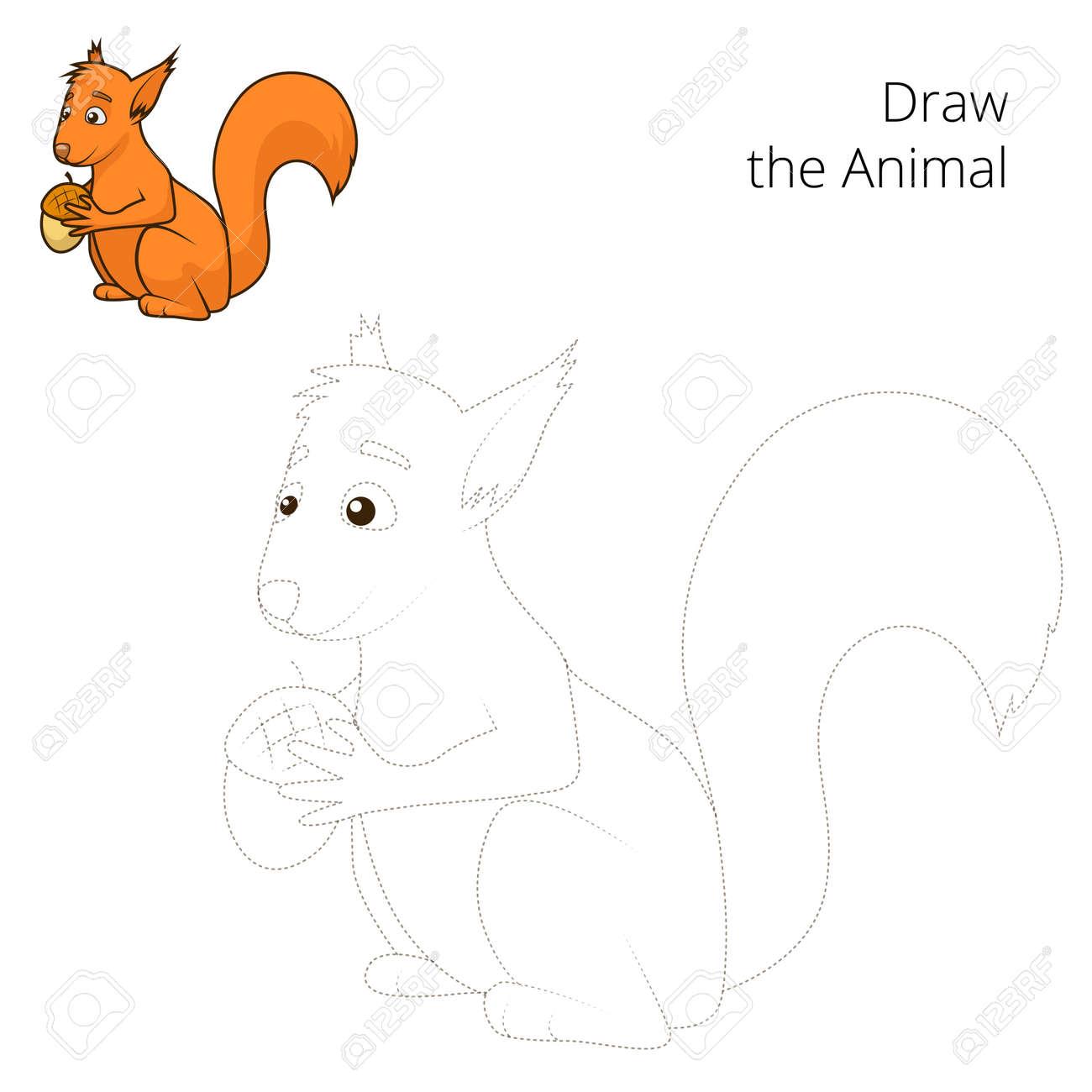 Zeichnen Sie Den Wald Tier Eichhörnchen Karikatur Für Kinder Vektor