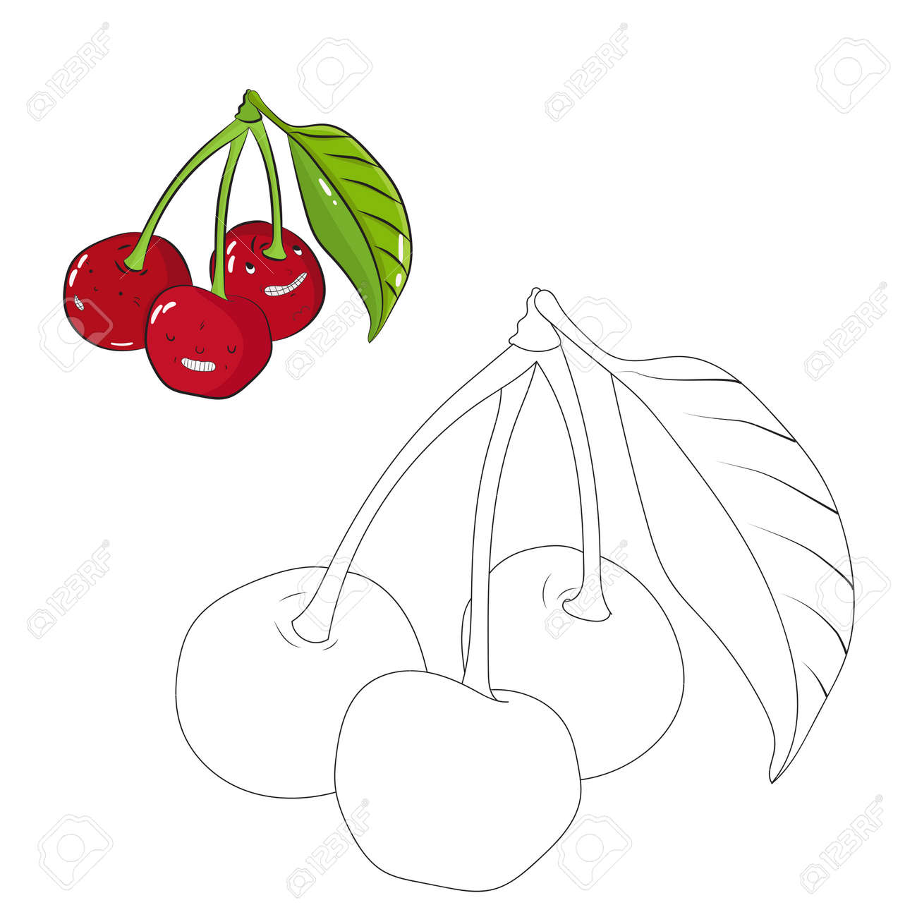 Educational Game Coloring Book Cherry Fruit Cartoon Doodle Hand Drawn Vector Illustration Stock