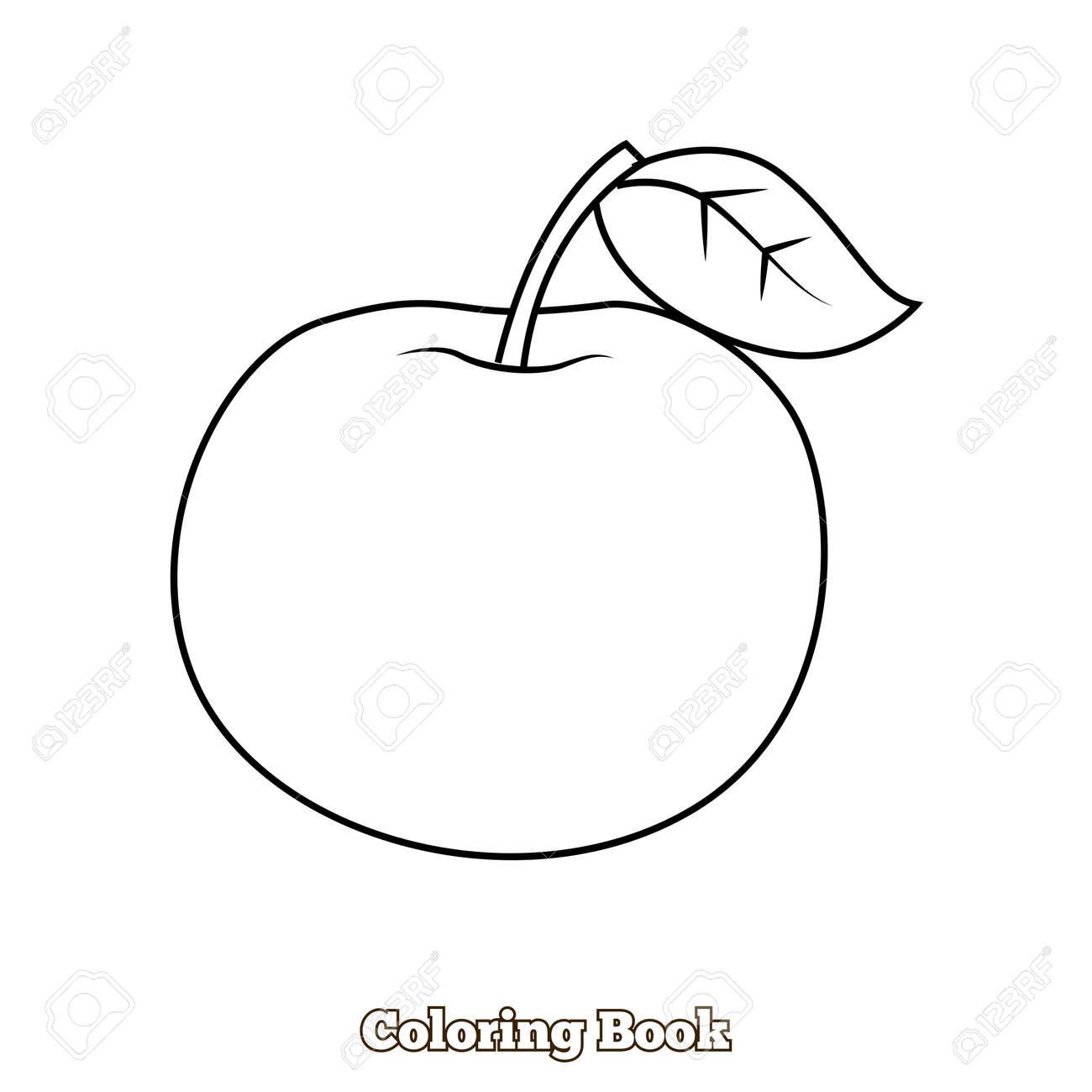 Manzana Para Colorear A Mano Ilustración Vectorial Dibujado