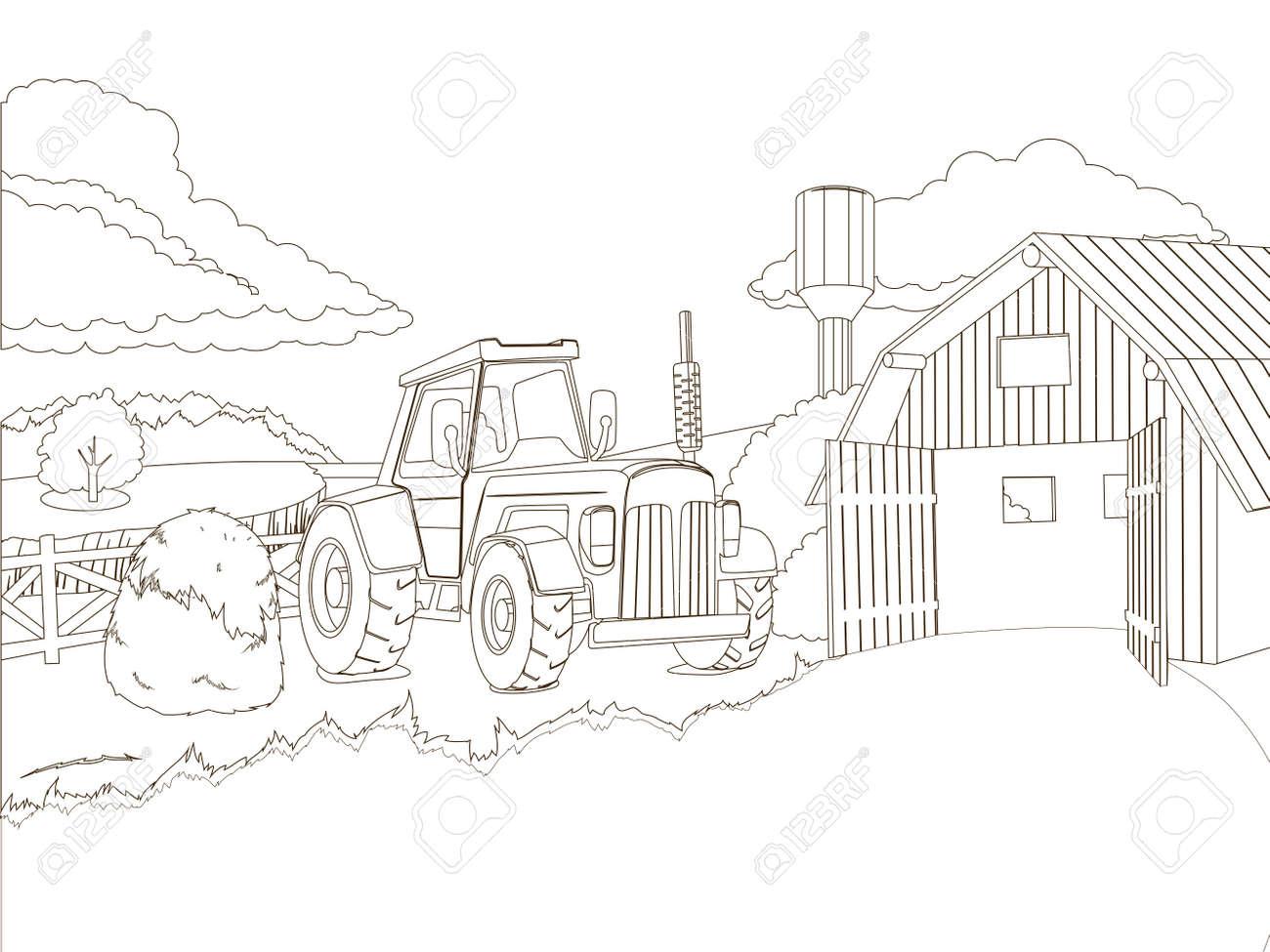 Tractor En La Ilustración De Libros De Vectores Para Colorear Granja ...