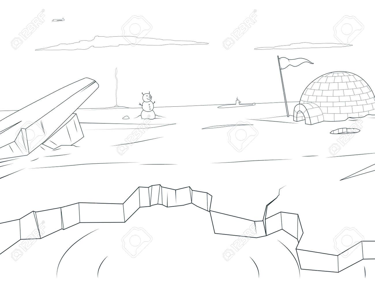 Colorear Dibujos Animados Ártico Ilustración De Libros De Vectores ...