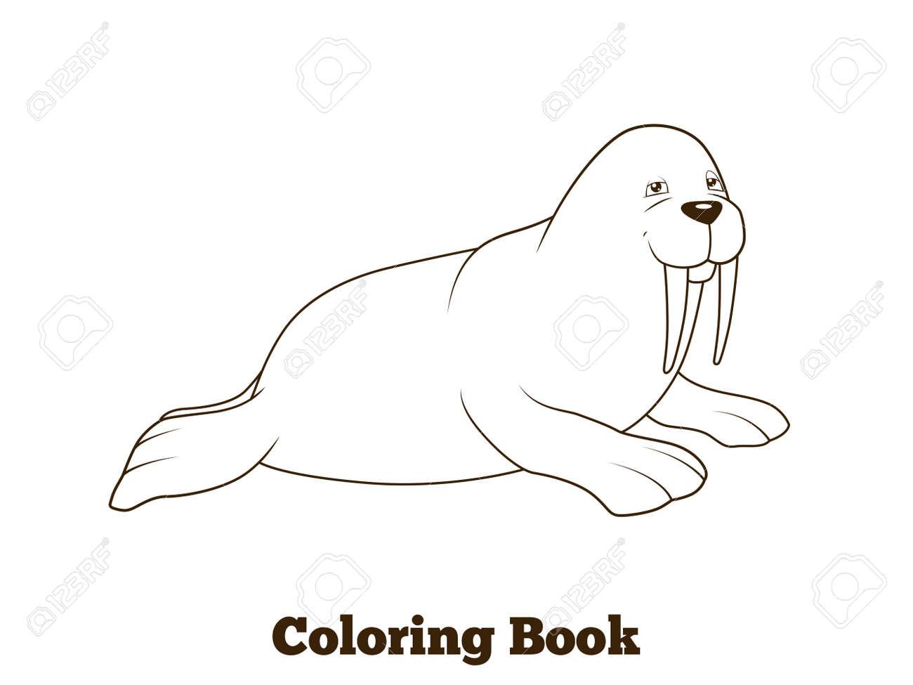 Morsa De Dibujos Animados De Libro Para Colorear Colorido Divertido ...