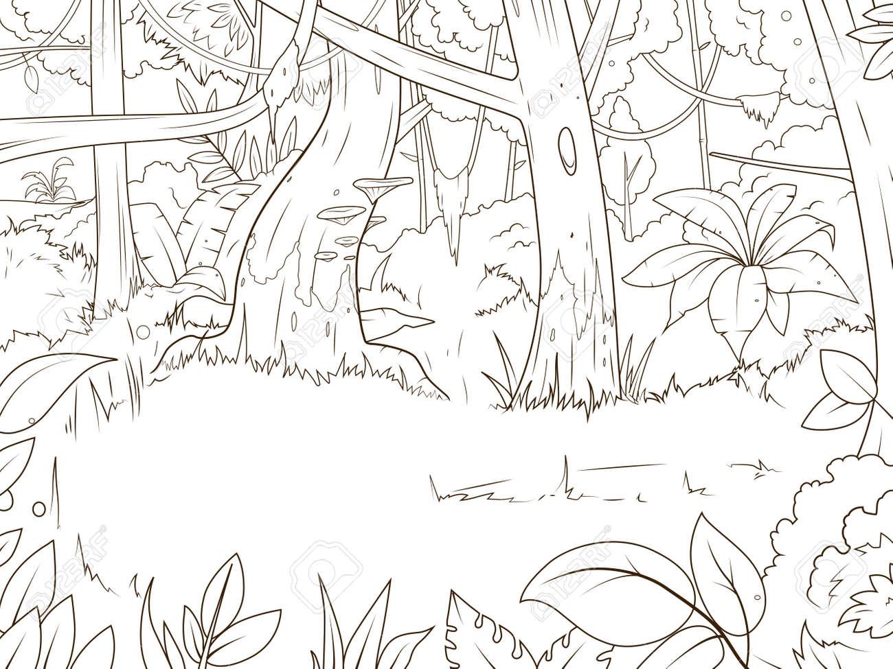 Dibujo Animado Bosque Selva Ilustración Vectorial Libro Para