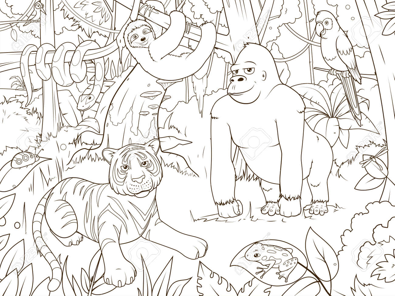 Jungle Animals Cartoon Coloring Book Vector Illustration Stock