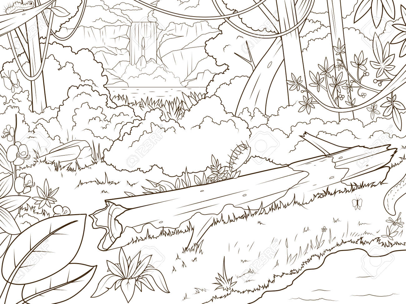forªt jungle avec waterfal livre de coloriage vecteur de bande dessinée illustration Banque d images