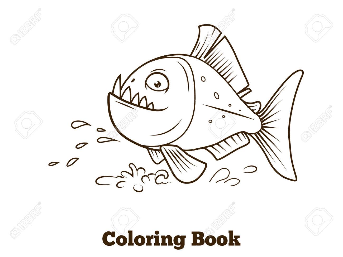 Piranha Peces De Dibujos Animados De Libro Para Colorear Líneas ...