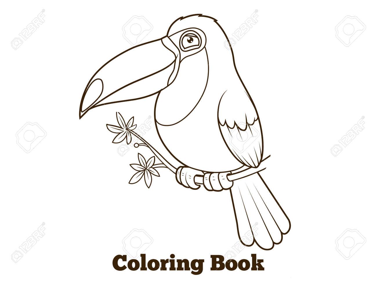Libro Para Colorear La Historieta Del Pájaro De Toucan Líneas Negras ...