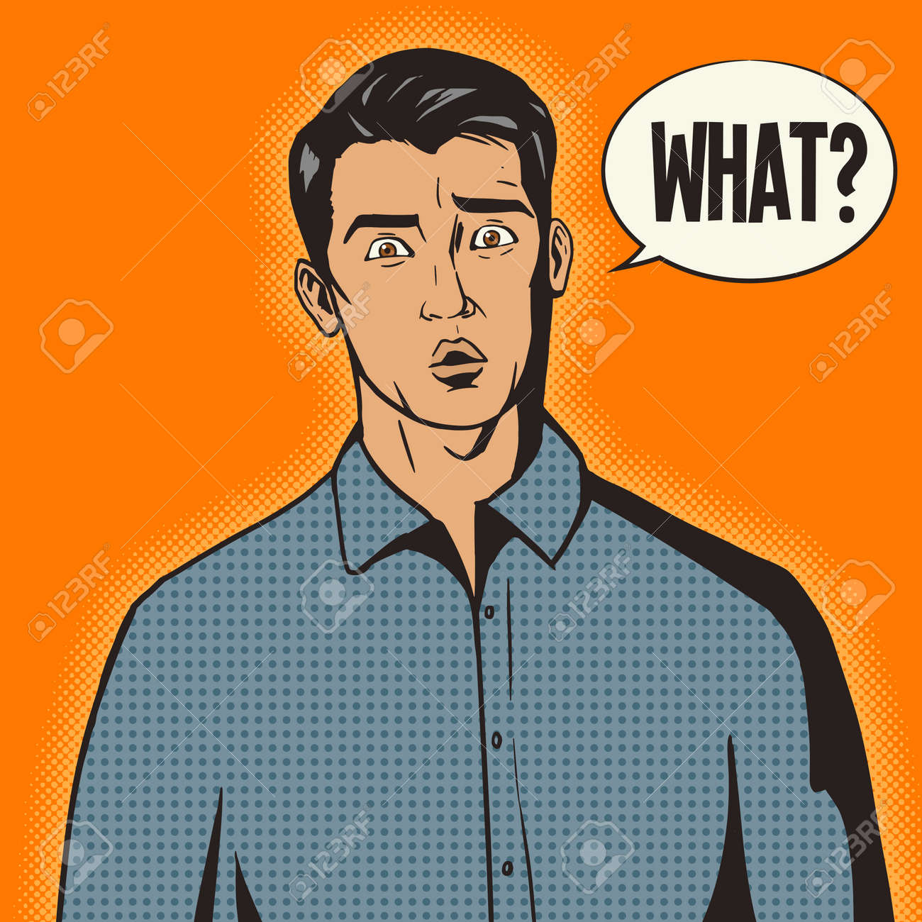 Surprised man pop art retro style vector illustration. Comic book style imitation - 49349120