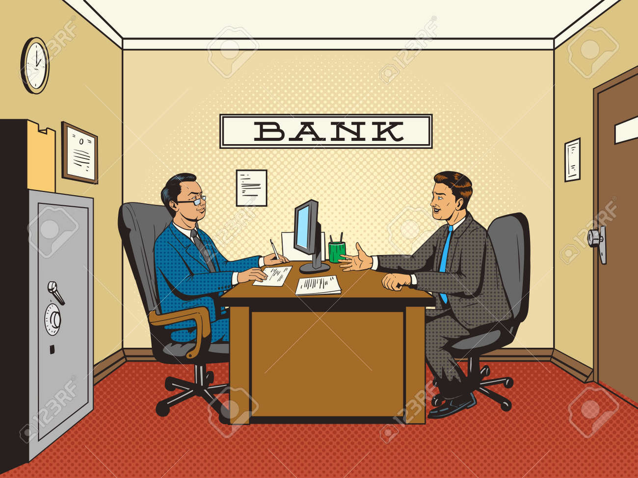 Businessman in bank pop art retro style vector illustration. Comic book style imitation. Man talks with banker - 58449222