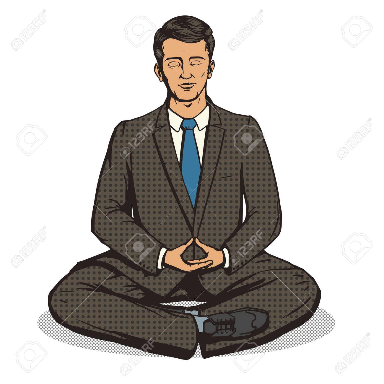 meditation businessman office. Businessman Meditation Cartoon Pop Art Comic Book Style Vector Illustration. Imitation Stock Office S
