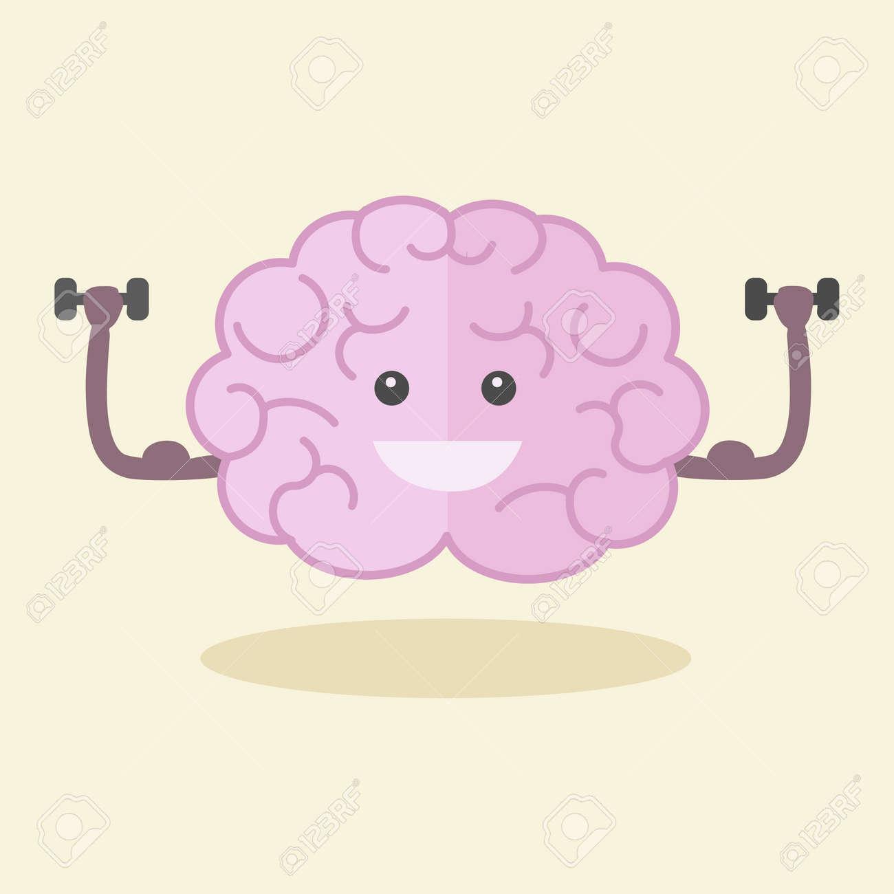 Brain training flat style vector illustration. Colorful cartoon powerful brain. - 50832232