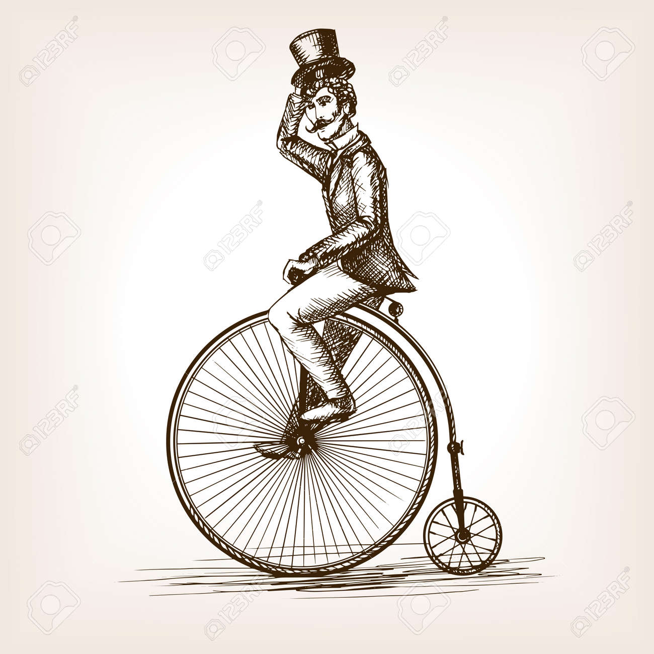 Man on retro vintage old bicycle sketch style vector illustration. Old hand drawn engraving imitation. Gentleman on a bicycle - 51266018