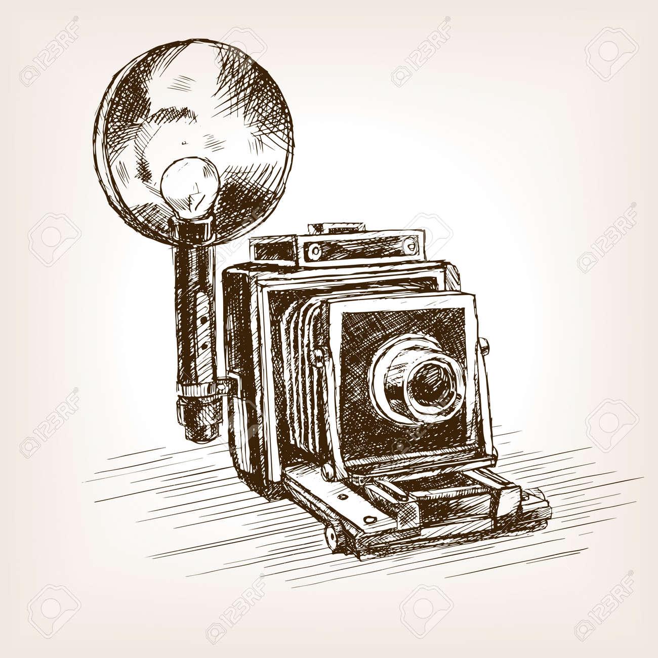 Old photo camera sketch style vector illustration. Old hand drawn engraving imitation. - 51266087