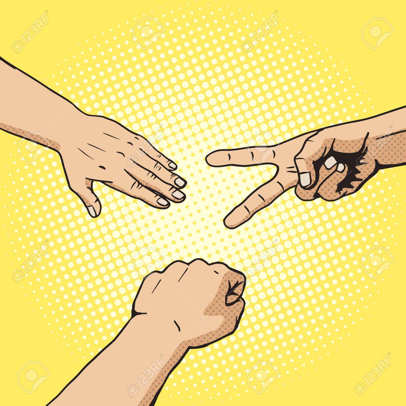 Rock paper scissors hand game pop art style vector. Comic book style imitation. Vintage retro style. Conceptual illustration - 51614376