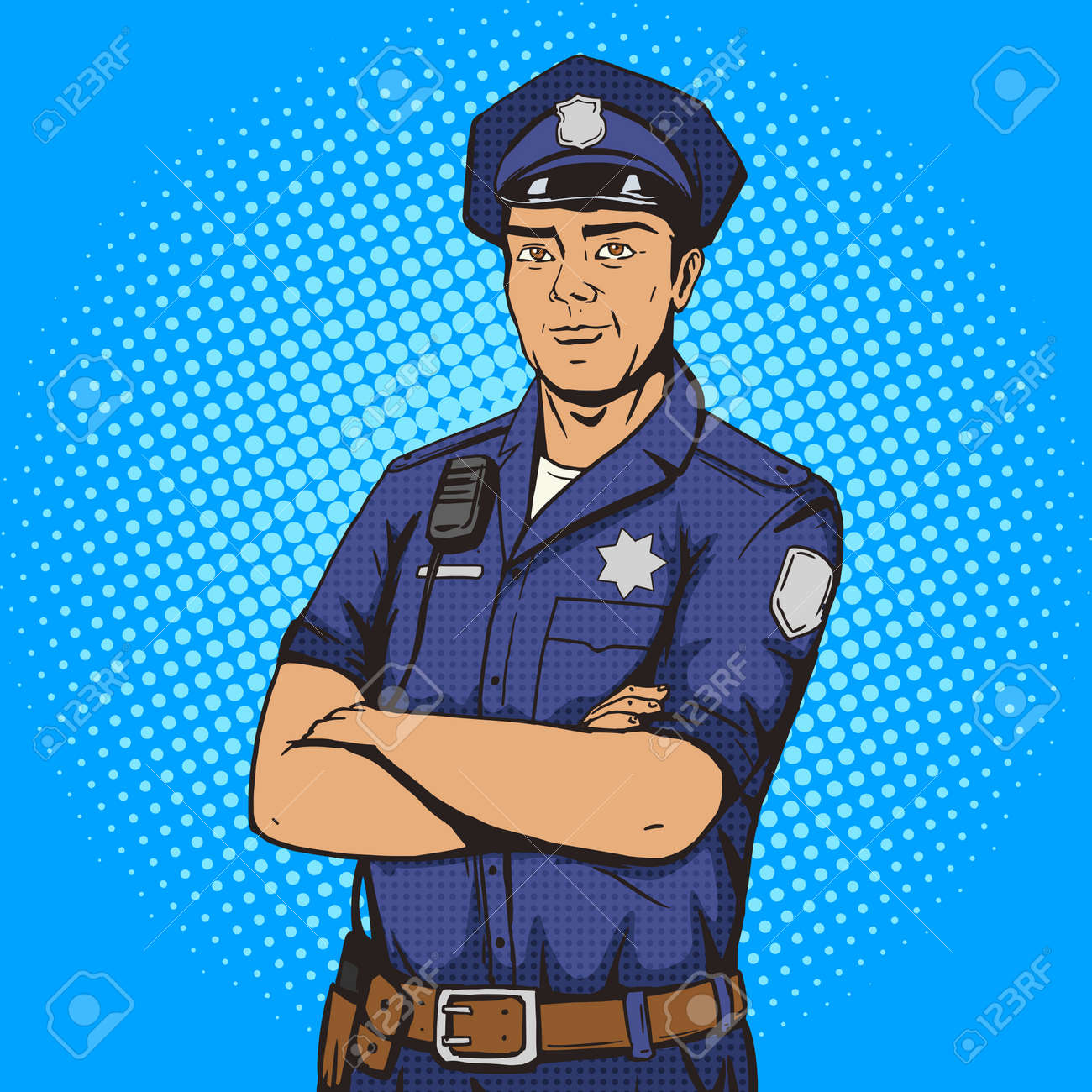 Policeman pop art style vector illustration. Police officer. Comic book style imitation. Vintage retro style. Conceptual illustration - 52219211