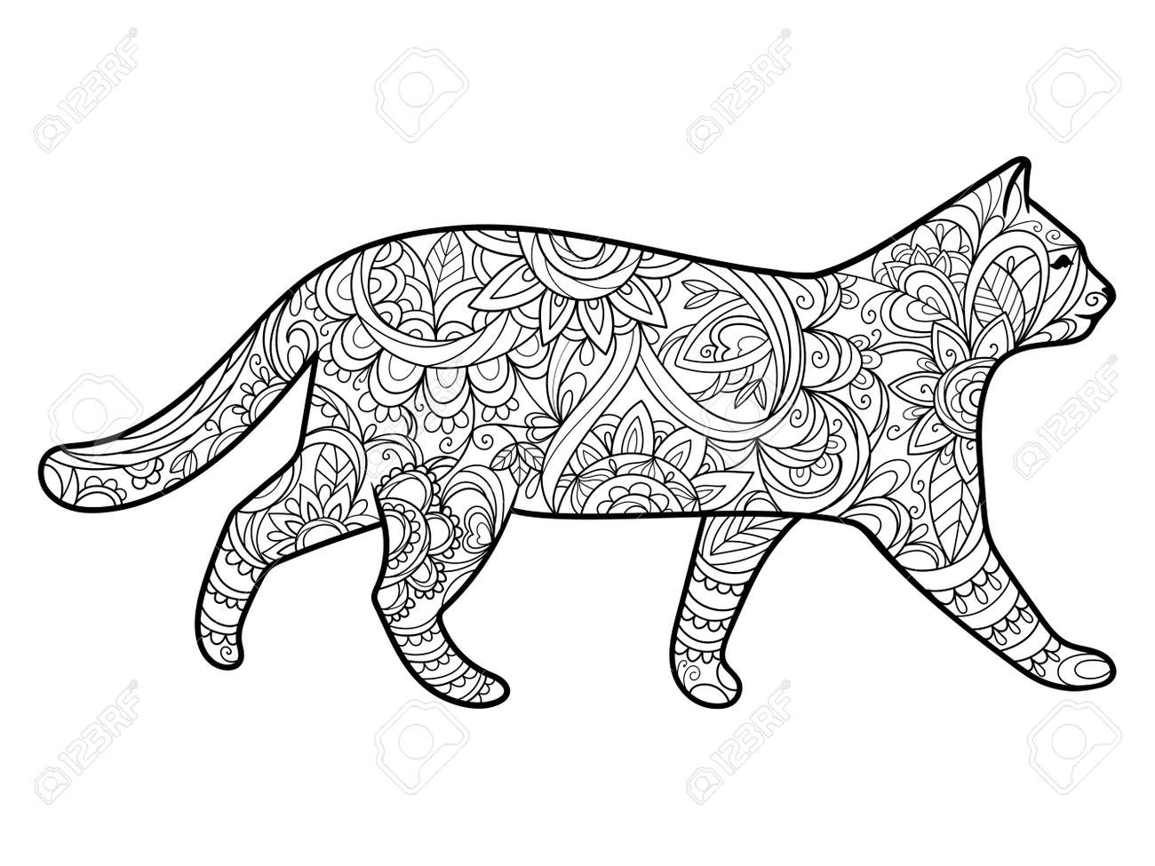 Cat Coloring Book For Adults Illustration. Anti-stress Coloring ...