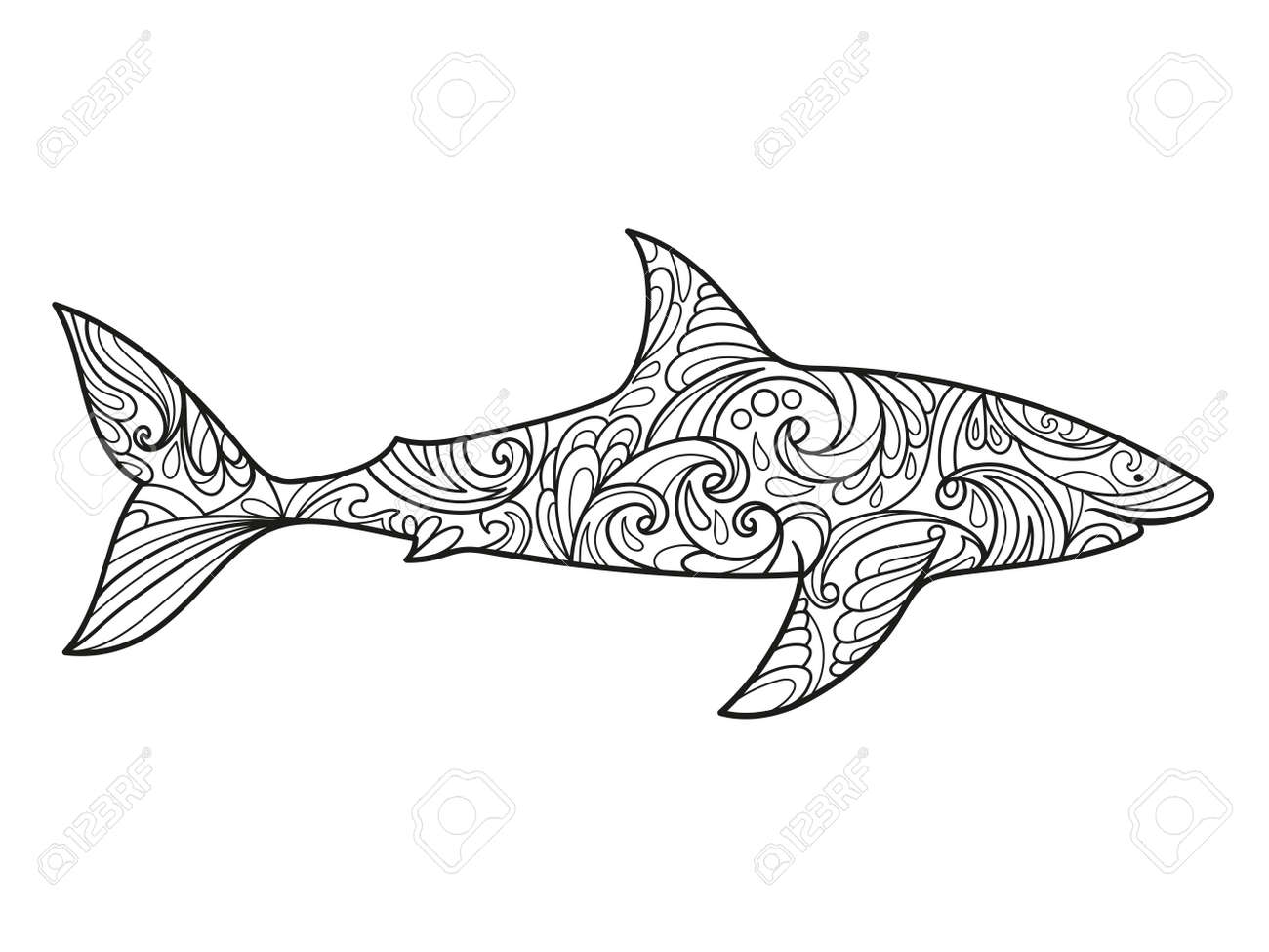 shark coloring book for adults illustration anti stress coloring