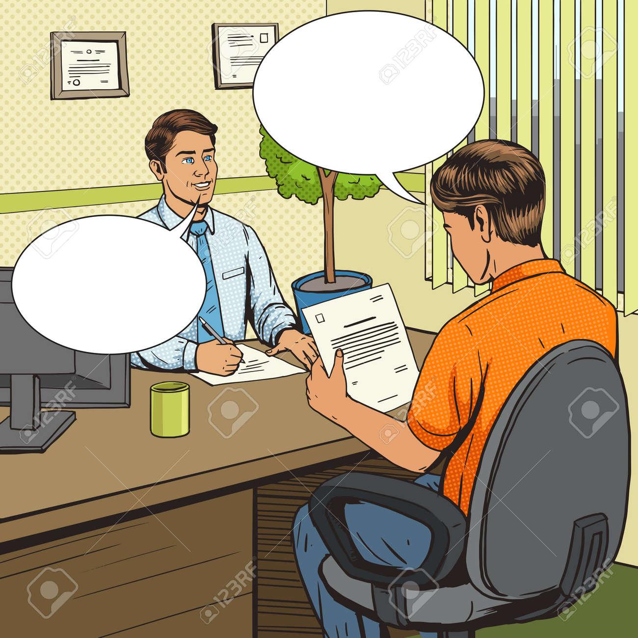 Businessman in bank office pop art retro style vector illustration. Comic book style imitation. Man talks with banker. Human illustration. Vintage retro style. Conceptual illustration - 58450244