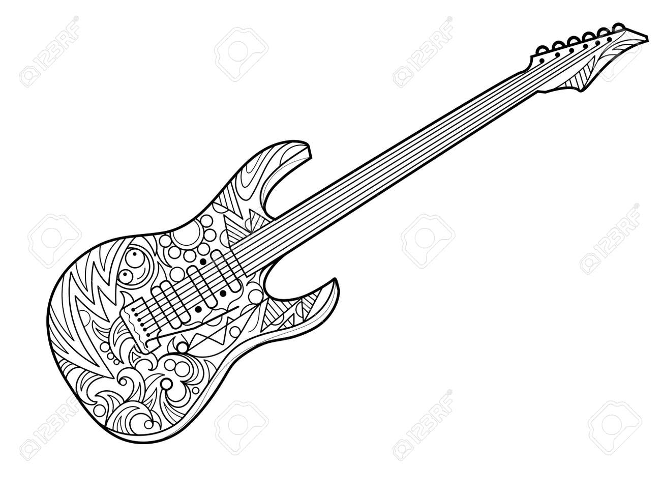 Electric Guitar Coloring Book For Adults Illustration. Violin ...