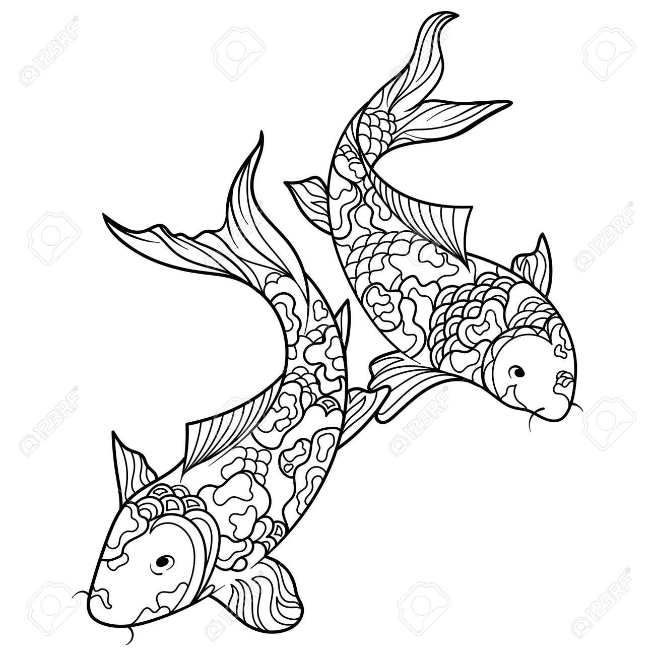 Koi Carp Fish Coloring Book For Adults Illustration. Anti-stress ...