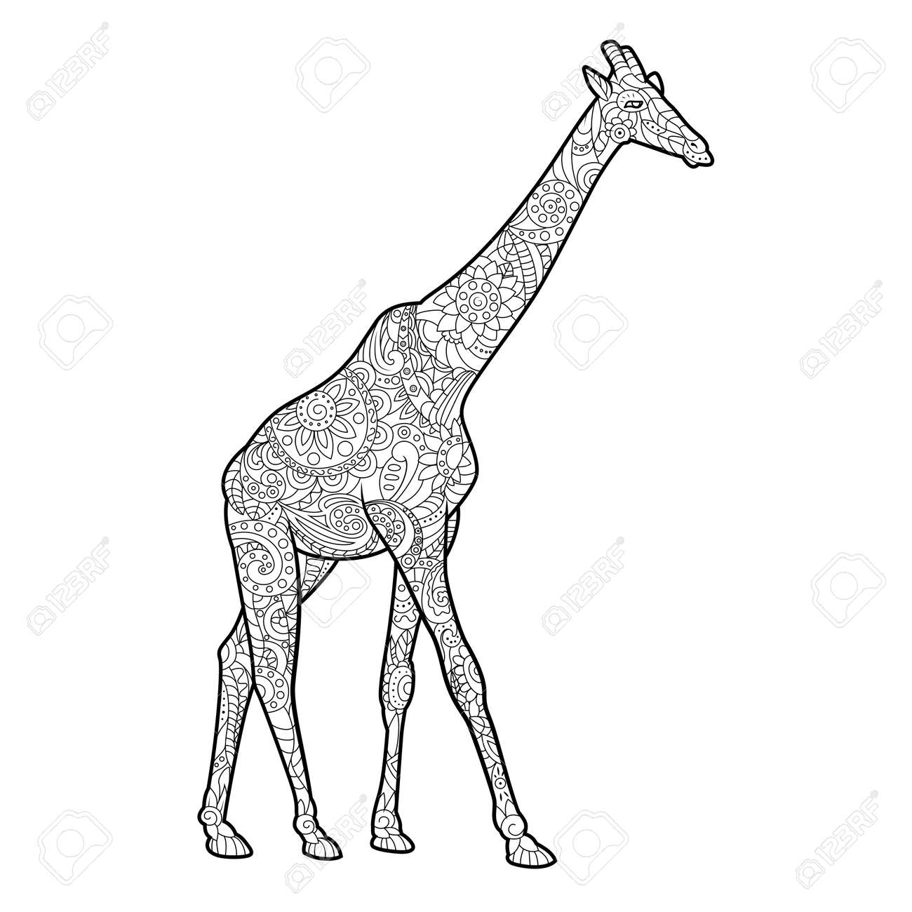 Giraffe Coloring Book For Adults Vector Illustration. Anti-stress ...