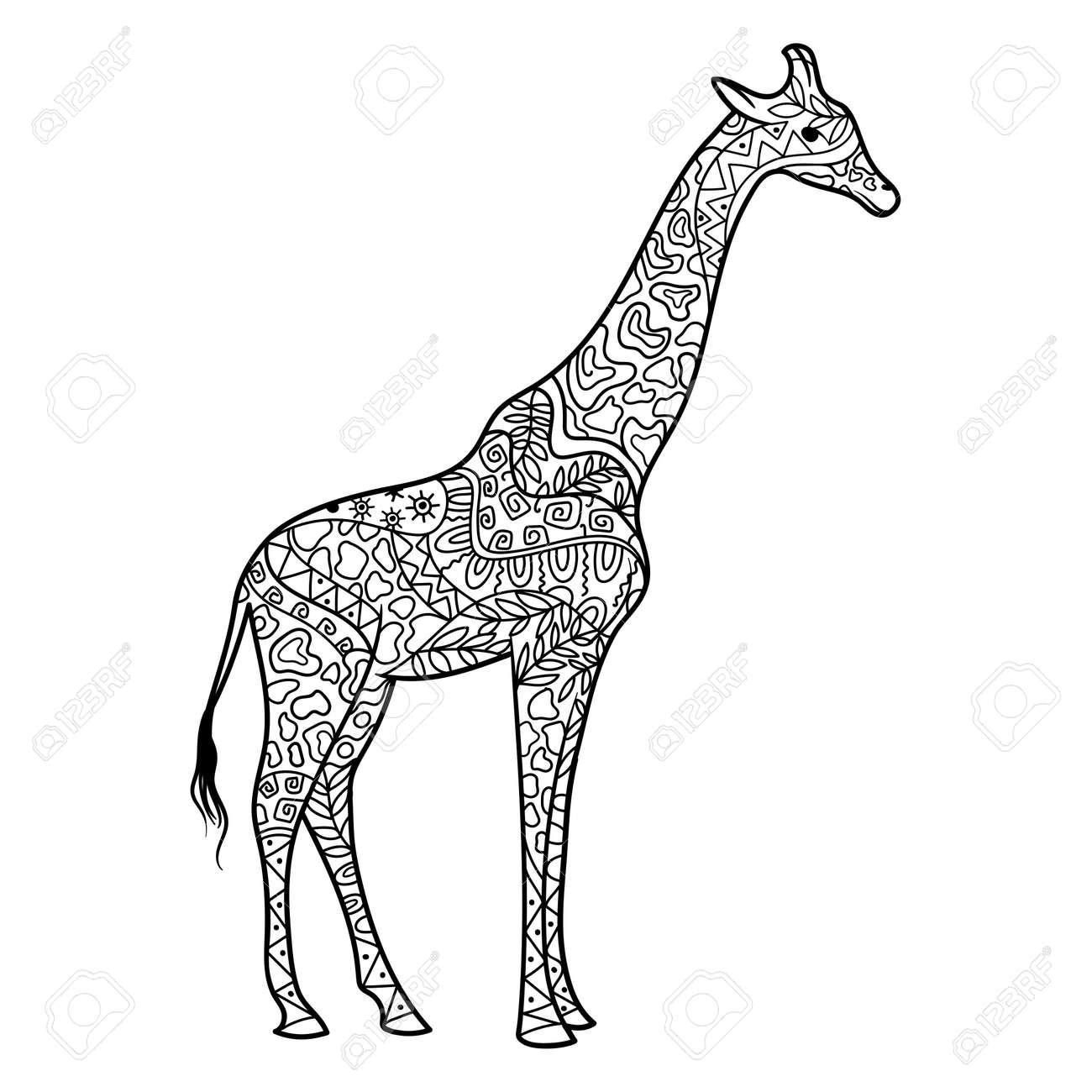 Giraffe Malbuch Für Erwachsene Vektor-Illustration. Anti-Stress Für ...