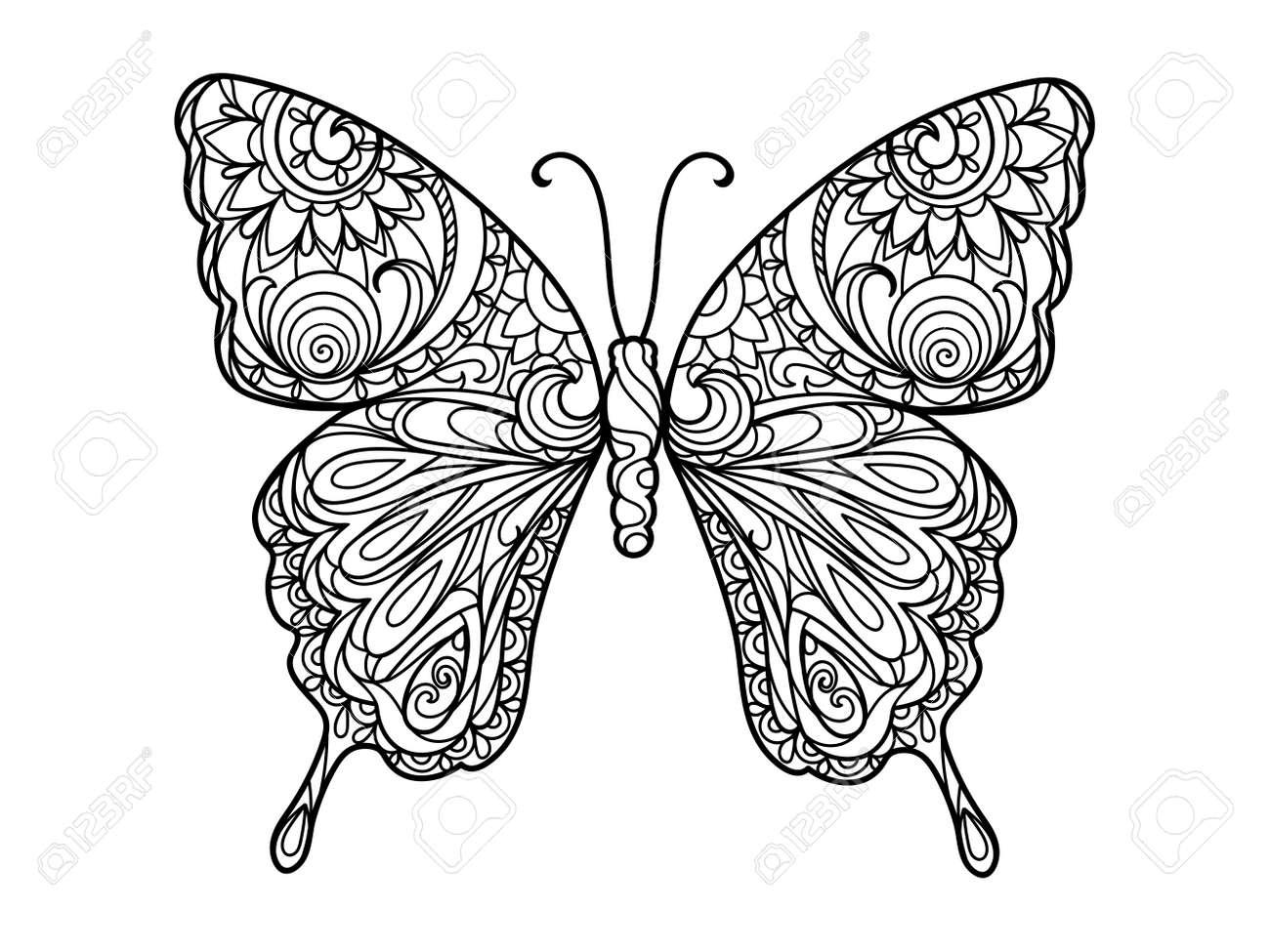 Atemberaubend Coloriage Mandala Papillon Zeitgenössisch ...